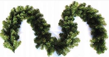 Geodezja Lublin Dekorative Weihnachtsgirlande künstliche Tannengirlande Weihnachtsdeko Kunstgirlande einsetzbar im Innen- und Außenbereich in Grün (9m) - 3