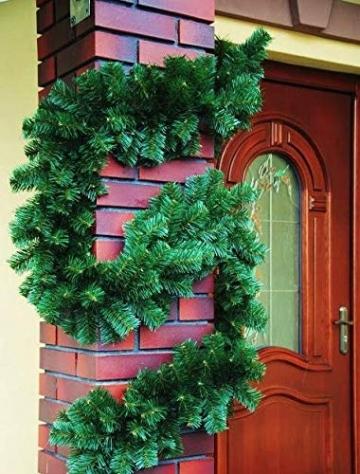 Geodezja Lublin Dekorative Weihnachtsgirlande künstliche Tannengirlande Weihnachtsdeko Kunstgirlande einsetzbar im Innen- und Außenbereich in Grün (9m) - 5