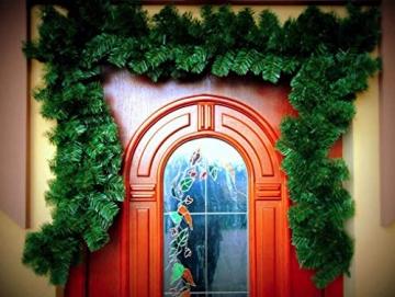Geodezja Lublin Dekorative Weihnachtsgirlande künstliche Tannengirlande Weihnachtsdeko Kunstgirlande einsetzbar im Innen- und Außenbereich in Grün (9m) - 6