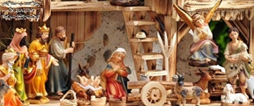 Große Weihnachtskrippe, mit Brunnen + Dekor, ca. 60 cm Massivholz historisch braun komplett mit Brunnenset - mit 12 x PREMIUM-Krippenfiguren + goldener Engel - 4