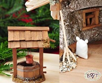 Große Weihnachtskrippe, mit Brunnen + Dekor, ca. 60 cm Massivholz historisch braun komplett mit Brunnenset - mit 12 x PREMIUM-Krippenfiguren + goldener Engel - 5