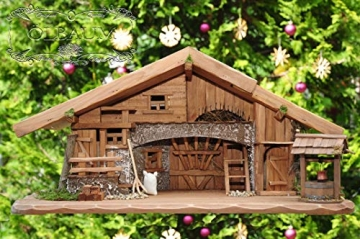 Große Weihnachtskrippe, mit Brunnen + Dekor, ca. 60 cm Massivholz historisch braun komplett mit Brunnenset - mit 12 x PREMIUM-Krippenfiguren + goldener Engel - 9