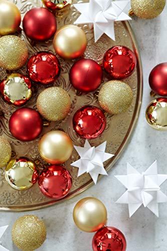 HEITMANN DECO 30er Set Christbaumkugeln Sortiment- Weihnachtsschmuck rot Gold zum Aufhängen - Kunststoffkugel Sortiment - 2