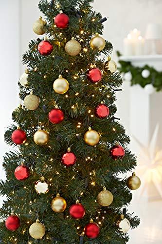 HEITMANN DECO 30er Set Christbaumkugeln Sortiment- Weihnachtsschmuck rot Gold zum Aufhängen - Kunststoffkugel Sortiment - 3