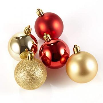 HEITMANN DECO 30er Set Christbaumkugeln Sortiment- Weihnachtsschmuck rot Gold zum Aufhängen - Kunststoffkugel Sortiment - 4