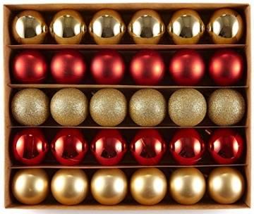 HEITMANN DECO 30er Set Christbaumkugeln Sortiment- Weihnachtsschmuck rot Gold zum Aufhängen - Kunststoffkugel Sortiment - 1