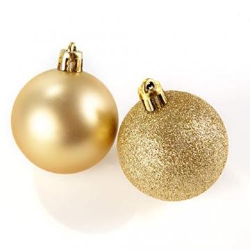 HEITMANN DECO 30er Set Christbaumkugeln Sortiment- Weihnachtsschmuck rot Gold zum Aufhängen - Kunststoffkugel Sortiment - 7