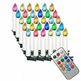 HENGMEI 30er LED Kerzen Weihnachtskerzen kabellos mit Fernbedienung und Batterie Christbaumkerzen Christbaumbeleuchtung RGB Flammenlose Weihnachtsbeleuchtung für Weihnachtsbaum, Hochzeit, Partys - 1