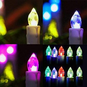 HENGMEI 30er LED Kerzen Weihnachtskerzen kabellos mit Fernbedienung und Batterie Christbaumkerzen Christbaumbeleuchtung RGB Flammenlose Weihnachtsbeleuchtung für Weihnachtsbaum, Hochzeit, Partys - 4
