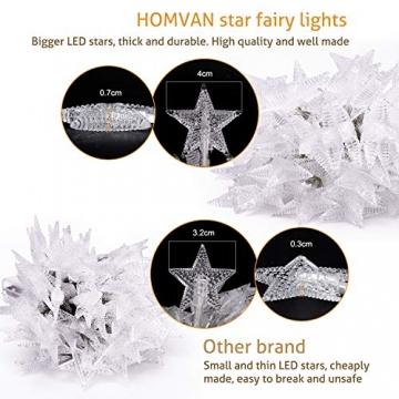 HOMVAN LED-Lichterkette mit Batterie, Stern-Lichterkette 7,5 m 50 LEDs zur Beleuchtung innen und außen für Weihnachten, Halloween, als Hochzeitsdeko, Zimmerdeko oder Gartenparty-Dekoration (Warmweiß) - 2