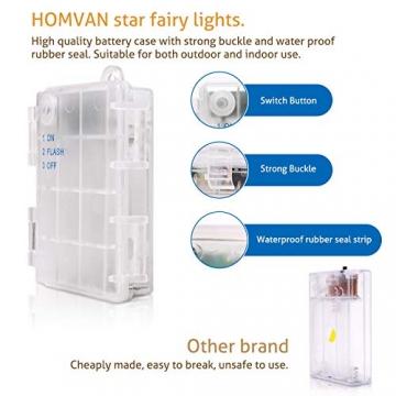 HOMVAN LED-Lichterkette mit Batterie, Stern-Lichterkette 7,5 m 50 LEDs zur Beleuchtung innen und außen für Weihnachten, Halloween, als Hochzeitsdeko, Zimmerdeko oder Gartenparty-Dekoration (Warmweiß) - 3