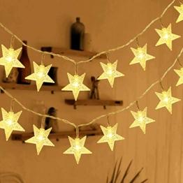 HOMVAN LED-Lichterkette mit Batterie, Stern-Lichterkette 7,5 m 50 LEDs zur Beleuchtung innen und außen für Weihnachten, Halloween, als Hochzeitsdeko, Zimmerdeko oder Gartenparty-Dekoration (Warmweiß) - 1