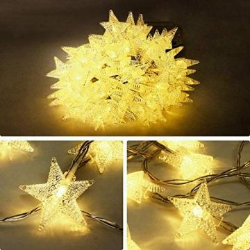 HOMVAN LED-Lichterkette mit Batterie, Stern-Lichterkette 7,5 m 50 LEDs zur Beleuchtung innen und außen für Weihnachten, Halloween, als Hochzeitsdeko, Zimmerdeko oder Gartenparty-Dekoration (Warmweiß) - 4