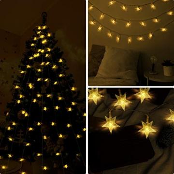 HOMVAN LED-Lichterkette mit Batterie, Stern-Lichterkette 7,5 m 50 LEDs zur Beleuchtung innen und außen für Weihnachten, Halloween, als Hochzeitsdeko, Zimmerdeko oder Gartenparty-Dekoration (Warmweiß) - 5