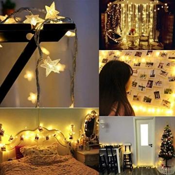 HOMVAN LED-Lichterkette mit Batterie, Stern-Lichterkette 7,5 m 50 LEDs zur Beleuchtung innen und außen für Weihnachten, Halloween, als Hochzeitsdeko, Zimmerdeko oder Gartenparty-Dekoration (Warmweiß) - 6