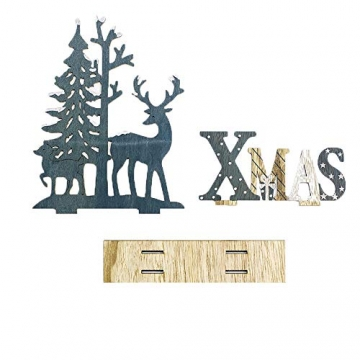 HROIJSL Weihnachten Deko Hölzerne Elchweihnachts Dekoration Weihnachten Weihnachtsmann aus Holz Elch Schneemann Festival Ornament Home Decor - 2