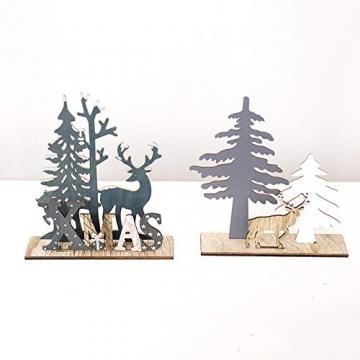 HROIJSL Weihnachten Deko Hölzerne Elchweihnachts Dekoration Weihnachten Weihnachtsmann aus Holz Elch Schneemann Festival Ornament Home Decor - 3