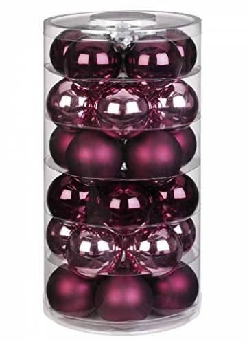 Inge Glas Weihnachtskugeln   Schöne Christbaumkugeln aus Glas   30 Kugeln in Dose   Christbaumschmuck Weihnachtsbaumschmuck Weihnachtsbaumkugeln (Berry Kiss   rot Beere Glanz/matt) - 1