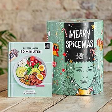 Just Spices Gewürz Adventskalender 2021 I Weihnachtskalender mit 24 Gewürzmischungen + brandneues Kochbuch I Hochwertige Gewürze als Geschenk für Männer und Frauen I insgesamt 4,5 kg - 6