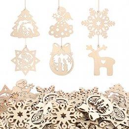 KATELUO 60 Stück Holz Weihnachten Anhänger, DIY Weihnachtsdekoration Holz, Weihnachtsbaumschmuck Holz für Zuhause, Party, Festival, Weihnachten Weihnachtsbaum Deko Geschenke - 1