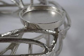 Kobolo Deko-Kranz Adventskranz groß - Metall - Silber - für 4 Kerzen - D40 cm - 3