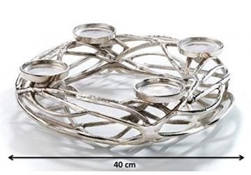 Kobolo Deko-Kranz Adventskranz groß - Metall - Silber - für 4 Kerzen - D40 cm - 5