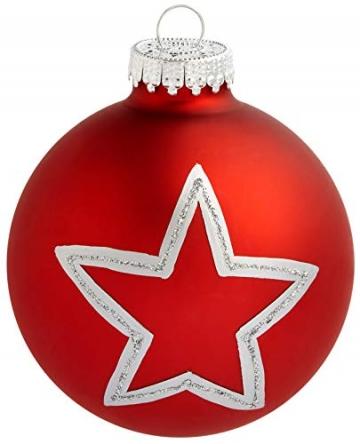 KREBS & SOHN 12er Set Glas Christbaumkugeln Heitmann Deco - Weihnachtsbaum Deko zum Aufhängen - Weihnachtskugeln 8 cm - Rot Sterne - 2