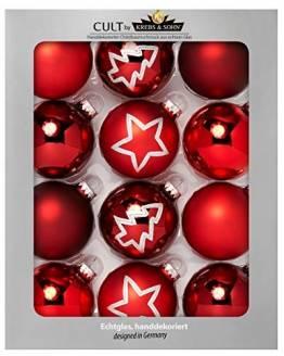 KREBS & SOHN 12er Set Glas Christbaumkugeln Heitmann Deco - Weihnachtsbaum Deko zum Aufhängen - Weihnachtskugeln 8 cm - Rot Sterne - 1