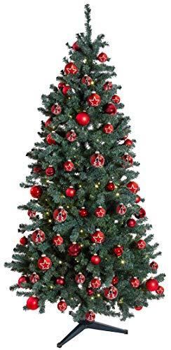 KREBS & SOHN 12er Set Glas Christbaumkugeln Heitmann Deco - Weihnachtsbaum Deko zum Aufhängen - Weihnachtskugeln 8 cm - Rot Sterne - 4