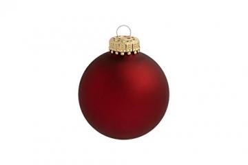 KREBS & SOHN 12er Set Glas Christbaumkugeln Heitmann Deco - Weihnachtsbaum Deko zum Aufhängen - Weihnachtskugeln 8 cm - Rot Sterne - 7