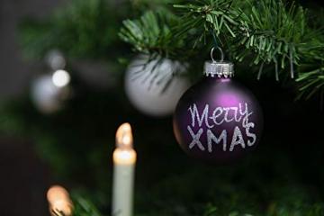 KREBS & SOHN 20er Set Glaskugeln - Weihnachtsbaumschmuck zum Aufhängen - Christbaumkugeln - Weiß, Lila, Silber - 3