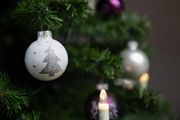 KREBS & SOHN 20er Set Glaskugeln - Weihnachtsbaumschmuck zum Aufhängen - Christbaumkugeln - Weiß, Lila, Silber - 4