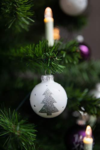 KREBS & SOHN 20er Set Glaskugeln - Weihnachtsbaumschmuck zum Aufhängen - Christbaumkugeln - Weiß, Lila, Silber - 5