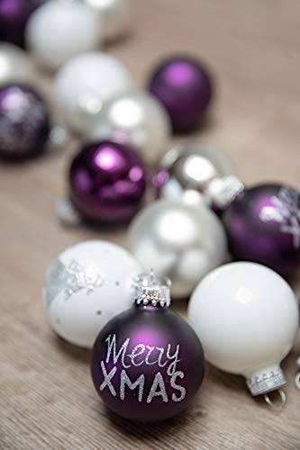 KREBS & SOHN 20er Set Glaskugeln - Weihnachtsbaumschmuck zum Aufhängen - Christbaumkugeln - Weiß, Lila, Silber - 1