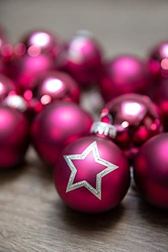 KREBS & SOHN Set Weihnachtskugeln aus Glas 5,7 cm - Christbaumschmuck Christbaumkugeln Weihnachtsdeko - 20-teilig, Pink, Sterne - 2