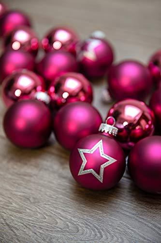 KREBS & SOHN Set Weihnachtskugeln aus Glas 5,7 cm - Christbaumschmuck Christbaumkugeln Weihnachtsdeko - 20-teilig, Pink, Sterne - 3