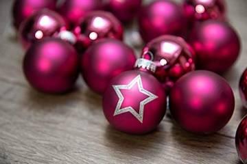 KREBS & SOHN Set Weihnachtskugeln aus Glas 5,7 cm - Christbaumschmuck Christbaumkugeln Weihnachtsdeko - 20-teilig, Pink, Sterne - 1