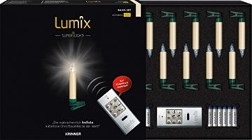 Krinner Lumix Krinner LUMIIX Superlight Mini kabellose Power LED Christbaumkerzen 12er Basis-Set (Outdoor IP44) ABS Kunststoff 1.5 x 1.5 x 9 cm LUMIX SuperLight Mini Elfenbein - 1
