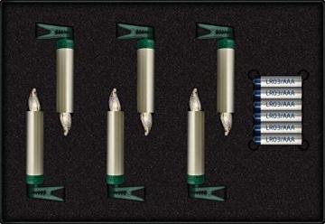 Krinner LUMIX Superlight Mini Metallic, kabellose, von Hand lackierte Power LED Christbaumkerzen, Basis-Set mit 6 Kerzen und IR-Fernbedienung, Cashmere, Art. 75555, 1.5 x 1.5 x 9 cm - 2