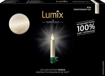 Krinner LUMIX Superlight Mini Metallic, kabellose, von Hand lackierte Power LED Christbaumkerzen, Basis-Set mit 6 Kerzen und IR-Fernbedienung, Cashmere, Art. 75555, 1.5 x 1.5 x 9 cm - 1