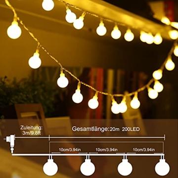 Kugel Lichterkette, WOWDSGN 200 LEDs Lichterkette 20m Dimmbar, Partylichterkette mit Stecker für Innen und Außen, 8 Leuchtmode, strombetrieben, ideal für Weihnachten, Hochzeit, Party, Garten, Warmweiß - 2