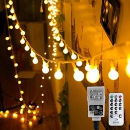 Kugel Lichterkette, WOWDSGN 200 LEDs Lichterkette 20m Dimmbar, Partylichterkette mit Stecker für Innen und Außen, 8 Leuchtmode, strombetrieben, ideal für Weihnachten, Hochzeit, Party, Garten, Warmweiß - 1