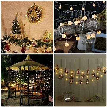 Kugel Lichterkette, WOWDSGN 200 LEDs Lichterkette 20m Dimmbar, Partylichterkette mit Stecker für Innen und Außen, 8 Leuchtmode, strombetrieben, ideal für Weihnachten, Hochzeit, Party, Garten, Warmweiß - 5