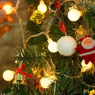 Kugel Lichterkette, WOWDSGN 200 LEDs Lichterkette 20m Dimmbar, Partylichterkette mit Stecker für Innen und Außen, 8 Leuchtmode, strombetrieben, ideal für Weihnachten, Hochzeit, Party, Garten, Warmweiß - 7