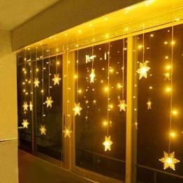 LED Lichterkette, Schneeflocke Fenster, Weihnachtsbeleuchtung Innen Warmweiß für Weihnachten Geburtstag Party Hochzeit, 94er LEDs Lichtervorhang Außen IP44 24V Niederspannung 8 Modi 3,6M x 1M - 1