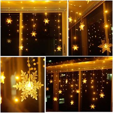 LED Lichterkette, Schneeflocke Fenster, Weihnachtsbeleuchtung Innen Warmweiß für Weihnachten Geburtstag Party Hochzeit, 94er LEDs Lichtervorhang Außen IP44 24V Niederspannung 8 Modi 3,6M x 1M - 5