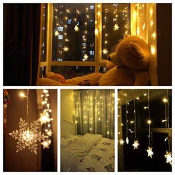 LED Lichterkette, Schneeflocke Fenster, Weihnachtsbeleuchtung Innen Warmweiß für Weihnachten Geburtstag Party Hochzeit, 94er LEDs Lichtervorhang Außen IP44 24V Niederspannung 8 Modi 3,6M x 1M - 6