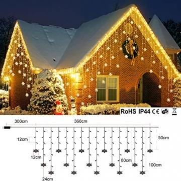 LED Lichterkette, Schneeflocke Fenster, Weihnachtsbeleuchtung Innen Warmweiß für Weihnachten Geburtstag Party Hochzeit, 94er LEDs Lichtervorhang Außen IP44 24V Niederspannung 8 Modi 3,6M x 1M - 7
