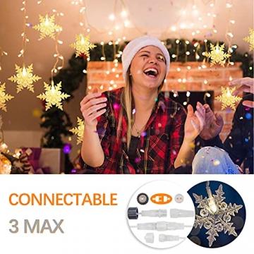 LED Lichterkette, Schneeflocke Fenster, Weihnachtsbeleuchtung Innen Warmweiß für Weihnachten Geburtstag Party Hochzeit, 94er LEDs Lichtervorhang Außen IP44 24V Niederspannung 8 Modi 3,6M x 1M - 8