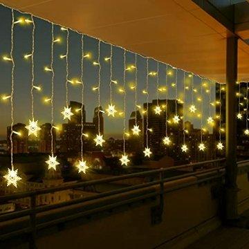 LED Lichtervorhang, Vegena 3,5M 96 LED Schneeflocken Lichterketten LED String Lights LED Lichterkettenvorhang Weihnachten Beleuchtung EU Stecker 8 Flimmer-Modi für Innen Außen - 1